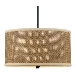 Quoizel - Zen Drum Pendant by Quoizel - A serene, natural design with a Tan Rattan shade and a Mystic Black trim. The Quoizel Zen Drum Pendant offers a subtly exotic feel that's a nice finishing touch for a variety of decors. Consider it for a bedroom, living room, sunroom or den, among other spaces. Also a great complement to the rest of the Zen lighting collection. For more than 80 years, Quoizel (based in Charleston, SC) has dedicated itself to bringing timeless lighting designs into modern homes. By consciously avoiding design fads, consistently balancing form and function and using only the highest quality materials, Quoizel lighting designs do indeed stand the test of time.
