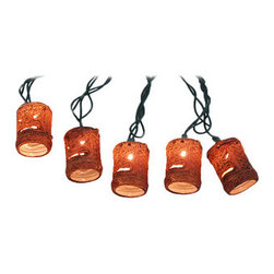 10 Piece Natural Tiki Mask String Light Set - This 10 light string of Polynesian style tiki mask lights adds an island atmosphere to your patio. The light string is about 10 feet long, with Christmas tree style lights inside the 2 inch high barrel shaped tikis. They plug into standard North American power outlets, are UL listed, and come with 2 replacement bulbs.