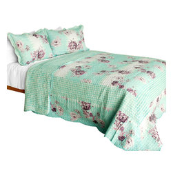 Blancho Bedding - [Rural Sky]Cotton 3PC Vermicelli-Quilted Floral Patchwork Quilt Set (Full/Queen) - Set includes a quilt and two quilted shams (one in twin set). Shell and fill are 100% cotton. For convenience, all bedding components are machine washable on cold in the gentle cycle and can be dried on low heat and will last you years. Intricate vermicelli quilting provides a rich surface texture. This vermicelli-quilted quilt set will refresh your bedroom decor instantly, create a cozy and inviting atmosphere and is sure to transform the look of your bedroom or guest room. Dimensions: Full/Queen quilt: 90 inches x 98 inches  Standard sham: 20 inches x 26 inches.