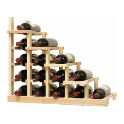 Vintner Series Wine RacK - 1 Column Waterfall Falling Right - The Vintner Series WATERFALL1 Display provides the perfect showcase for the prized wine bottles you would like to show off. Individual bottle wine storage cascades down with a waterfall of display bottles on top. This waterfall option is compatible with the Vintner 5 column individual rack and can be combined with the WATERFALL2 and WATERFALL3 to create a larger cascade. You can have a waterfall display come out from a wall to the center of a room for a dramatic display effect. You may also choose to line a waterfall wine display along a wall. To achieve this unique look, we have a single bottle deep option that we have designed both in a left and right falling option. Product requires assembly. Moldings and platforms sold separately. Assembly required.