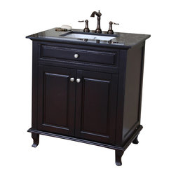 Bellaterra Home - 32 Inch Single Sink Vanity-Dark Mahogany - This single bathroom vanity offers plenty of form and function. With two doors installed with soft close hinges, it is constructed with solid wood in rich dark mahogany finish, It is carefully finished in multiple layer of top coat to endure water proof surface to withstand humidity in bathroom. The trim and a raised panel gives elegance to the cabinet. The black galaxy stone top and the white UPC ceramic sink reflects the simplicity yet elegance of this cabinet. Birch + plywood