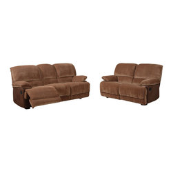Global Furniture USA - U9968 Brown Champion Froth Fabric Three Piece Sofa Set With Built-in Recliners - The U9968 sofa set will add a stylish modern design with a traditional look that works well with any decor. This sofa set comes upholstered in a beautiful brown champion fabric. The fabric is very plush and soft to the touch. High density foam is placed within the cushions for added comfort. The sofa set features built-in recliners on each piece for that added touch of relaxation. The price shown includes a sofa, loveseat, and chair only.