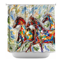 DiaNoche Designs - Shower Curtain Artistic Abstract Wild Horses - DiaNoche Designs works with artists from around the world to bring unique, artistic products to decorate all aspects of your home.  Our designer Shower Curtains will be the talk of every guest to visit your bathroom!  Our Shower Curtains have Sewn reinforced holes for curtain rings, Shower Curtain Rings Not Included.  Dye Sublimation printing adheres the ink to the material for long life and durability. Machine Wash upon arrival for maximum softness on cold and dry low.  Printed in USA.