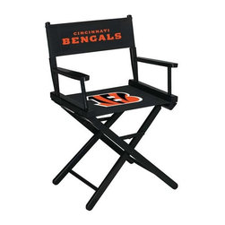 Imperial International - Cincinnati Bengals NFL Directors Chair - Take a look at this great Table-Height Director's Chair. It has black stained hardwood, paddle arms, and a straight line leg rack. It's custom manufactured for you in the heart of Tennessee. It's perfect for your Man Cave, Game Room, Garage or Basement. Logos are screen printed on the back and seats of a high quality 16oz duck cloth canvas. Suitable for indoors and outdoors.