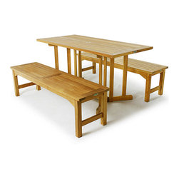 Westminster Teak Furniture - Barbuda Premium Teak Wood Picnic Table - 3pc Barbuda Teak Picnic Table comes with one Barbuda teak rectangular folding table and two 5 ft teak backless benches.  All Westminster Teak dining sets are made with eco-friendly teak wood from renewable, certified teak plantations. Lifetime warranty.