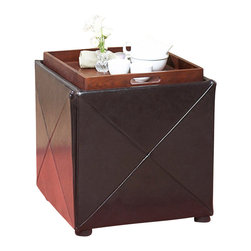 Modus Furniture - Modus Milano Upholstered Storage Cube in Chocolate Brown Leatherette - Modus Furniture - Ottomans - ML0892F - Add a designer touch to any room in your home with the Milano Storage Cube. Four square leatherette paneling wrap a cubic storage compartment accessible by a removable and reversible padded top. The reverse side of the lid is a hardwood serving tray top for added convenience. This versatile cube is a great place to store toys, gaming accessories, magazines and other household clutter.