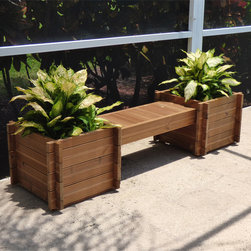 None - Thermod Modula Planter Box Bench - Add the vibrant life of plants with this Thermod Modula planter box bench. This modular planter can be combined into sets and seating areas by adding more benches and other accessories.