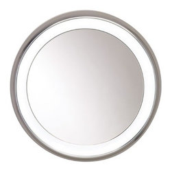 Tech Lighting - Tech Lighting | Tigris Mirror Round - Round mirror surrounded by a cove of diffused white light. Provides shadow-free task and  ambient light.Available in two two styles: recessed or surface mount. Choice of low-voltage halogen or fluorescent with electronic ballast lamping. Plated  pressure formed frame.For wall mount use only. Recessed version requires modifications to existing wall construction.