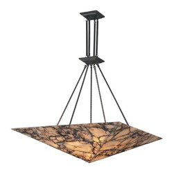 Elk Lighting - Elk Lighting 9010/9 Imperial Granite Transitional Pendant Light in Antique Brass - Elk Lighting 9010/9 Imperial Granite Transitional Pendant Light in Antique Brass. Enhance the beauty of your home with the timeless look of genuine stone. These stunningly spectacular fixtures feature stone with signature random veining and casts a warm and natural hue of light. Each fixture is supported by a solid antique brass frame that will stand the test of time.