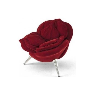 Eco Friendly Furnture and Lighting - The petals of the rose chair form the padding for the seat.