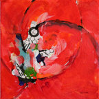 Red (Original) by Nancy Williams - Movement, energy, and passion inspired the creation of this piece.  Collage is incorporated into this acrylic painting.  The 1 1/2 inch deep canvas sides are painted black, giving this piece additional presence on the wall.  Perfect for a colorful accent.