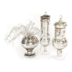 Go Home Ltd - Go Home Ltd Low Antique Mercury Glass Jar X-07201 - Go Home Ltd Low Antique Mercury Glass Jar X-07201