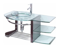 Renovators Supply - Glass Sinks Glass/Stainless Bauhaus Wall Mount Vessel Glaass Sink | 10926 - Glass Sinks: Our Bauhaus wall mount tempered glass vessel sink package comes complete with stainless steel towel rack and shelf, lacquered red oak shelf assembly, diffuser faucet, drain, and p-trap. Measures 34 inch height x 39 inch width x 22 inch projection.