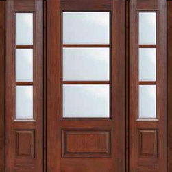 "Prehung French Single Door 96 Wood Mahogany Full Lite 12 Lite - SKU#    MCR06-SDL3_DF34D31-2Brand    GlassCraftDoor Type    FrenchManufacturer Collection    3 Lite French DoorsDoor Model    3 LiteDoor Material    FiberglassWoodgrain    Veneer    Price    4340Door Size Options    32"" + 2( 14"")[5'-0""]  $032"" + 2( 12"")[4'-8""]  $036"" + 2( 14"")[5'-4""]  $036"" + 2( 12"")[5'-0""]  $0Core Type    Door Style    Door Lite Style    3/4 Lite , 3 LiteDoor Panel Style    1 PanelHome Style Matching    Door Construction    TDLPrehanging Options    Prehung , ImpactPrehung Configuration    Door with Two SidelitesDoor Thickness (Inches)    1.75Glass Thickness (Inches)    Glass Type    Double GlazedGlass Caming    Glass Features    Tempered glassGlass Style    Glass Texture    ClearGlass Obscurity    No ObscurityDoor Features    Door Approvals    TCEQ , Wind-load Rated , AMD , NFRC-IG , IRC , NFRC-Safety GlassDoor Finishes    Door Accessories    Weight (lbs)    527Crating Size    25"" (w)x 108"" (l)x 52"" (h)Lead Time    Slab Doors: 7 Business DaysPrehung:14 Business DaysPrefinished, PreHung:21 Business DaysWarranty    Five (5) years limited warranty for the Fiberglass FinishThree (3) years limited warranty for MasterGrain Door Panel"