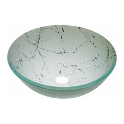 Renovators Supply - Vessel Sinks Lt Green Glass Cracked Stone Painted Rnd Vessel Sink | 12872 - Glass Vessel Sinks: Single Layer Painted Tempered glass sinks are five times stronger than glass, 1/2 inch thick, withstand up to 350 F degrees, can resist moderate to high degrees of impact and are stain-proof. Ready to install this package includes FREE 100% solid brass chrome-plated pop-up drain, FREE machined 100% solid brass chrome-plated mounting ring and silicone gasket. Measures 16 1/2 inch diameter x 6 inch deep x 1/2 inch thick.