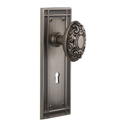 Nostalgic Warehouse - Nostalgic Mission Plate with Victorian Knob and Keyhole in Antique Pewter - The Mission plate in antique pewter harkens to the Spanish Colonial period of the Western frontier, with an instantly recognizable square corner. Combine this with our Victorian knob for a extraordinary look fit for royalty. All Nostalgic Warehouse knobs are mounted on a solid (not plated) forged brass base for durability and beauty.