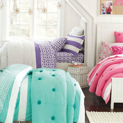 Crinkle Puff Quilt + Sham - We chose light and airy cotton crinkle voile in vivid hues to create this cozy bedding.
