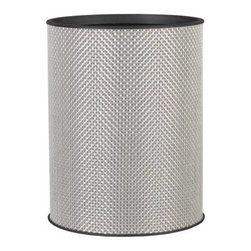 Lamont Home - Basketweave Round Wastebasket Silver - Made from high quality PVC/Polyester fabric, these traditional styles have been updated in a wide range of patterns to match any decor. A vinyl lid with metal grommet completes the look for the hamper. A very durable product that adds style to any laundry room.