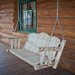Montana Woodworks Swing Seat with Chains - Handcrafted from solid, American-grown lodge pole pine, the Montana Woodworks Swing Seat with Chains is a beautiful addition to the porch of any lodge or cabin. Skip-peeled for a beautiful, textured look, this swing seat arrives in your choice of finish, with chains included for installation on a sturdy overhead structure.About Montana Woodworks:The largest, most trusted manufacturer of handcrafted, rustic furniture in the United States, Montana Woodworks creates all of their log furniture in their northwestern Montana factory. Montana Woodworks was founded in 1991 and acquired by father-son team Noah and Duane Hostetler in 2002. The Hostetlers expanded the company, while maintaining their commitment to both quality construction and environmental responsibility. This dedication ensures that you won't just get a beautiful piece of furniture with a Montana Woodworks product - you'll also get peace of mind.