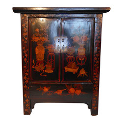 "Oriental Furnishings - Chinese Antique-Style End Table - Made of reclaimed elm wood this beautiful hand painted Chinese Cabinet is perfect as an end table, night stand or stand alone hall chest. Made of solid wood and dovetailed construction, it has one removable shelf and also houses a ""secret"" bottom compartment with cover.  Antique finish makes this look 100 years old.  This quality item will be cherished for years and years. The top is hand rubbed black lacquer but still exposes much of the beautiful wood grain underneath. The traditional Oriental hand painting of urns filled with flowers adds interest. Nice depth on this cabinet at 17"" deep x 28"" w x 33.5"" h."