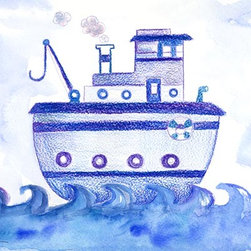 Oh How Cute Kids by Serena Bowman - Blue Tugboat, Ready To Hang Canvas Kid's Wall Decor, 11 X 14 - Each kid is unique in his/her own way, so why shouldn't their wall decor be as well! With our extensive selection of canvas wall art for kids, from princesses to spaceships, from cowboys to traveling girls, we'll help you find that perfect piece for your special one.  Or you can fill the entire room with our imaginative art; every canvas is part of a coordinated series, an easy way to provide a complete and unified look for any room.