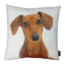 Lava - Dachshund 18X18 Decorative Pillow (Indoor/Outdoor) - 100% polyester cover and fill.  Suitable for use indoors or out.  Made in USA.  Spot Clean only