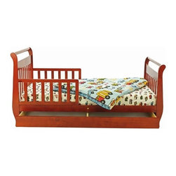 "Dream On Me - Sleigh Toddler Bed with Storage Drawer - Features: -Material: Solid wood.-Drawer beneath the bed for added storage.-Designed low to the ground for added safety.-Wooden mattress support rails that provide durability and support without the use of a box spring.-Non-toxic.-Included are safety guard rails for peace of mind security.-Collection: Sleigh Toddler.-Distressed: No.-Powder Coated Finish: No.-Gloss Finish: No.-Frame Material: Solid pine wood.-Hardware Material: Metal hinges.-Scratch Resistant: No.-Mattress Included: No.-Fits Crib Mattress: Yes.-Recommended Mattress Height: 4"".-Mattress Profile Maximum: 4"".-Mattress Profile Minimum: 2"".-Box Spring Included: No.-Slats Required: Yes.-Number of Slats Required: 6.-Slat System Included: Yes.-Number of Slats Included: 6.-Center Support Legs: No.-Recommended Age Range: 18 months - 7 years.-Also Suitable for Adults: No.-Trundle Bed Included: No.-Weight Capacity: 45 lbs.-Finished Back: Yes.-Commercial Use: No.-Eco-Friendly: Yes.Specifications: -CPSIA or CPSC Compliant: Yes.-CARB Compliant: Yes.-JPMA Certified: No.-ASTM Certified: Yes.-ISTA 3A Certified: Yes.-General Conformity Certificate: Yes.-Green Guard Certified : No.Dimensions: -Overall Height - Top to Bottom: 38"".-Overall Width - Side to Side: 35"".-Overall Depth - Front to Back: 57"".-Headboard Height Top to Bottom: 28"".-Headboard Width Side to Side: 29"".-Footboard Height: 24"".-Footboard Width - Side to Side: 28"".-Interior Drawer Height Top to Bottom: 3"".-Interior Drawer Width Side to Side: 51"".-Interior Drawer Depth Front to Back: 20"".-Overall Product Weight: 35.5 lbs.Assembly: -Comes complete with all necessary tools for easy assembly.-Assembly required.Warranty: -30 Days manufacturer's warranty."