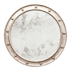Worlds Away Champagne Silver Leaf Federal Round Mirror - Champagne silver leaf federal style mirror with antique mirror in center.