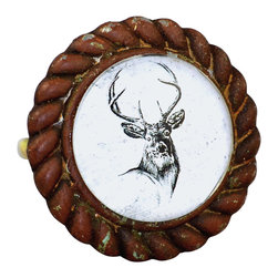 Charleston Knob Company - SET OF 2 Antique Iron & Glass Knobs - Deer - Our original  illustrations