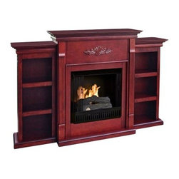 Southern Enterprises Tennyson Mahogany Gel Fireplace with Bookcase - Love the look and warmth of a fireplace but don't want to spend the money on a contractor? The Southern Enterprises Tennyson Plantation Gel Fuel Fireplace With Bookcases adds the perfect eloquent, sophisticated ambience to your home. A bookshelf on each side is ideal to display your favorite classic books. The mantel itself is adorned with tall, slender fluted columns on either side of the firebox, traditional crown molding, and a symmetrical medallion applique. Each three-shelf bookcase shares the same contemporary molding as the fireplace, and the rich classic mahogany finish adds warmth to any decor.The Tennyson Plantation Gel Fuel Fireplace requires no wires and makes no mess. To create a realistic fire effect, this fireplace is designed to hold up to three gel fuel cans (not included) camouflaged by the included log set that flames and crackles like real wood. The clean-burning gel fuel cans emit no smoke, no odor, no sparks, and no ash, so you won't have any of the mess of a wood-burning fireplace.The Tennyson Plantation Gel Fuel Fireplace mantel supports up to 85 lbs.*, and each can of FireGlo gel fuel produces up to 3,000 BTUs of heat and burns for two to three hours. The fireplace includes the mantel, metal firebox, log set, faux coal cinder, and screen kit. Assembly required. FireGlo gel fuel is sold separately. Dimensions: 70.25W x 14D x 42.25H inches.*Warning: Positioning anything on top of the fireplace mantel poses a degree of risk, especially in the case of electronic appliances or equipment. If you elect to display a television, we recommend that it be a slip-profile, flat-screen model and that it be positioned away from the front edge of the mantel where there is a degree of heat generated from the firebox. It is also recommended that any flat-screen TV be secured to the wall behind it for added safety and security. The manufacturer assumes no responsibility for items placed on top of a fireplace mantel.About SEI (Southern Enterprises, Inc.)This item is manufactured by Southern Enterprises or SEI. Southern Enterprises is a wholesale furniture accessory import company based in Dallas, Texas. Founded in 1976, SEI offers innovative designs, exceptional customer service, and fast shipping from its main Dallas location. It provides quality products ranging from dinettes to home office and more. SEI is constantly evolving processes to ensure that you receive top-quality furniture with easy-to-follow instruction sheets. SEI stands behind its products and service with utmost confidence.