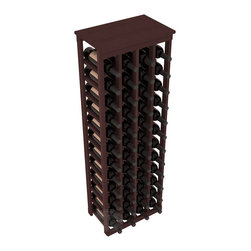 "48 Bottle Kitchen Wine Rack in Redwood with Walnut Stain - Store 4 complete cases of wine in less than 20"" of wall space. Just over 4 feet tall, this narrow wine rack fits perfectly in hallways, closets and other ""catch-all"" spaces in your home or den. The solid wood top serves as a shelf or table top for added convenience and storage of nick-nacks."