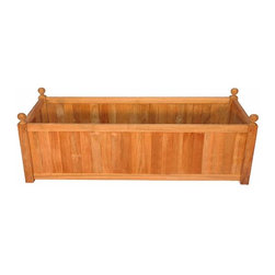 Fifthroom - Teak Rectangular Planter - A successful planter box should complement your plants without calling undue attention to itself.  This high quality teak planter exudes luxury with its Grade A teak wood.  The decorative finals on each corner provide understated beauty.  Working well for both indoor and outdoor gardening, the durable teak wood will support your plants without warping or rotting.