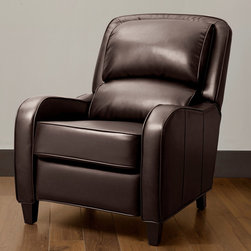 None - Filmore Brown Bonded Leather Recliner - Update your decor with this brown leather recliner that features an eye-catching espresso finish. This contemporary recliner is filled with foam and blown fiber to ensure its comfort. Its hardwood construction makes it strong and durable.