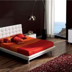 Stylish Leather Designer Bedroom with Extra Storage - White bedroom set with platform bed. An excellent choice for any modern styled bedroom
