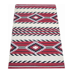 Handmade Santa Fe 100% Wool Rug - Bought in Santa Fe and never used, this wool rug features tribal patterns and is right on trend. The rug was handwoven from 100% wool and features bright red, cream and black.