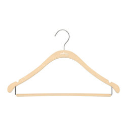 Clos-ette Too - The Signature Slim Shirt Hanger w/ Bar, Nude w/ Chrome - Our Signature Slim Shirt Hangers with Bar are flocked in a velvety non-slip material, ensuring your garments stay put. A skinny, 1/5 profile is thin enough to save space, but durable enough to handle the heaviest clothing. And because we use the highest quality composites and fabric, our clothing hangers never snap, unlike other brands on the market. We guarantee youll find our hangers to be longer lasting and better for your clothes than the competition. Multi-use design ideal for pants, shirts, blouses, dresses, and spaghetti-strap garments. Rounded, flocked bar for creaseless, non-slip hanging. Rounded shoulders preserve garment shape. 18 width and super-durable composition stands up to heavy and broad-shouldered garments as well as any wooden hanger. Shorter vertical drops maximize vertical space in your closet.