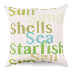 Sun and Sand Outdoor Pillow - Ivory - Soft coloring brings the briskness of a cool summer morning and the endless fascination of a Sargasso sea to the Ivory Sun and Sand Outdoor Pillow, while the alternating, multicolored typography design conveys peaceful, invigorating concepts through simple word art. Position on a chair to enhance a seaside home or express a wistful wish for the beach.