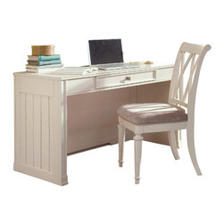 American Drew - American Drew Camden-Light Desk in White Painted - The Camden-Light Collection melds simple forms with quiet traditional references, gentle curves and a beautiful time worn ivory finish that lets the character of the wood show through. The brushed nickel finish hardware adds even more character to the Camden collection. This line will work great in your renovated farm house or a smaller beach cottage get-away.