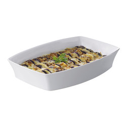 Revol - Revol Porcelain Alexandrie  Rectangular Roasting Dish, White, 61.75 Oz. - ELEGANT: The sleek, graceful curves add beauty to your table. FUNCTIONAL: The shapes perfectly suit everyday cook-and-serve needs. PRATICAL: The flared edges make for easy handling. Dimensions: 7.5x 5.25x 2.25""