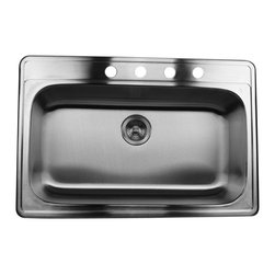 """Nantucket Sinks - Nantucket Sink ns3322-9  33"""" large Rectangle Single Bowl self rimming Stainless - Self Rimming drop in large rectangle kitchen sink. Has four accessory holes that will accommodate an 8"""" spread faucet."""