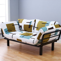 Spacely Complete Futon Lounger - The compact Futon Lounger with adjustable arms and variety of cover options. It consists from black metal frame.