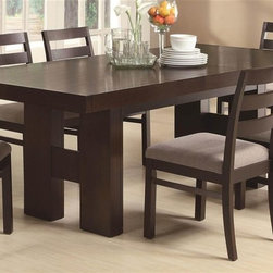 Coaster - Dabny 5-Pc Dining Set - Includes table and four chairs. Contemporary style. Rectangular shape table. Top with pull out extension leaf. H-form double pedestal base. Side chair with ladder back. Upholstered chair seat. Made from ash solids and hardwoods. Cappuccino finish. Chair: 20.75 in. W x 18.75 in. D x 35 in. H. Table: 86.25 in. L x 39.25 in. W x 30.75 in. H. Warranty