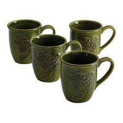 Paula Deen Signature Dinnerware Southern Pine 4 Piece Mug Set - Green - Warm hearts and souls this holiday season with a cup of rich hot chocolate served in the Paula Deen Signature Dinnerware Southern Pine 4 Piece Mug Set - Green. These durable embossed stoneware 11-ounce mugs feature a raised pine cone pattern that adds just the right touch of holiday spirit to every table. Even better, the versatile design of this dinnerware makes it great for making memories year-round. Add Southern charm to the breakfast table with coffee served in these festive mugs, or end a memorable meal with a soothing cup of hot tea served in the living room. For your convenience, the stoneware is microwave safe, dishwasher safe, and oven safe to 250 degrees fahrenheit. About Paula DeenSouthern cooking queen Paula Deen is known to millions as a popular TV show cooking host on the Food Network, as well as a bestselling author. The Georgia native parlayed a home-based meal delivery service into her successful Lady and Sons restaurant in Savannah, Ga. In 2008, Deen partnered with Meyer Corporation to launch a line of signature cookware, bakeware, kitchen tools, and accessories, which are used by home cooks everywhere.