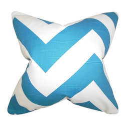 """The Pillow Collection - Eir Zigzag Pillow, Blue 20"""" x 20"""" - Bring a hip look to your interiors with this contemporary accent pillow."""