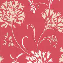 Decorline - Dl Accent Agapanthus Wallpaper - Bring brilliance to your walls with this bright pink and pearl floral wallpaper, which marries elegance and whimsy in the best possible way. With this botanical beauty of a pattern on your wall, you'll feel fun and festive, every time you walk in the room.