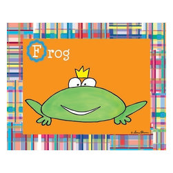 Oh How Cute Kids by Serena Bowman - Animal Alphabet - Frog, Ready To Hang Canvas Kid's Wall Decor, 11 X 14 - Every kid is unique and special in their own way so why shouldn't their wall decor be so as well! With our extensive selection of canvas wall art for kids, from princesses to spaceships and cowboys to travel girls, we'll help you find that perfect piece for your special one.  Or fill the entire room with our imaginative art, every canvas is part of a coordinating series, an easy way to provide a complete and unified look for any room.