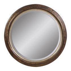 Bassett Mirror - Antique Bronze Round Wall Mirror - Antique Bronze with Silver Leaf Accent - Round. Measures: 40 in. Round.