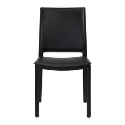 Euro Style - Kate Side Chair (Set Of 4) - Black Leatherette - Completely skinned with leatherette, the Kate chair makes a statement. And the well-designed space where the back meets the seat gives this chair a timeless shape. It will look this good for generations.