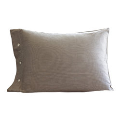 Taylor Linens - Farmhouse Stripe Standard Pillowcase - Wake up to timeless ticking. Brown and cream pinstripes will look great with everything from your cottage floral sham to your modern channel-stitched quilt. Made of 100 percent cotton, the pillowcase also features button closures. Don't snooze on this great buy.