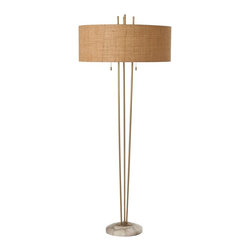 Arteriors - Jenson Floor Lamp - Transitional floor lamp features three vintage brass finished steel rods rising upward from the round snow marble base. Topped with a beige textured linen drum shade with off-white cotton lining. Accented with a pair of decorative brass pull chains. Marble may vary. Takes two 60 watt bulbs.